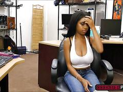 An intense office fuck with a busty hot ebony babes