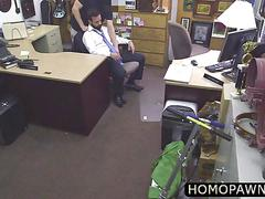 Horny ass pawnshop owner sucked off his mature client dick and gets fucked from behind