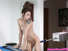 Tgirl pleasures herself with sex machine