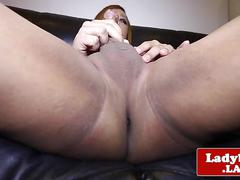 Fat ladyboy jerking her hard cock