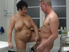 Fat german milf gets nailed in bathroom