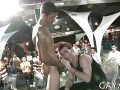 Stripper gets his dick slobbered by hot gay boys at party