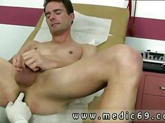 Doctor strokes his rod while getting finger fucked by a twink