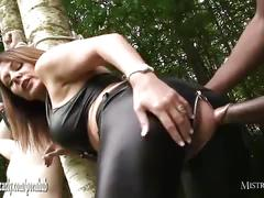 Busty mistress ties slave to tree and whips him before sucks and fucks bbc