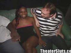 Ebony submissive monique gets gangbanged in the porn theater!