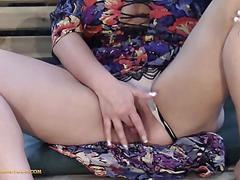 Hot blonde milf with gorgeous feet finger fucks juicy pussy and orgasms on garden bench