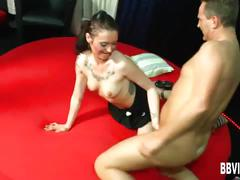 Tattooed german babe fuck two dicks