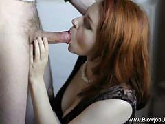 Redhead wraps her lips round this hard cock