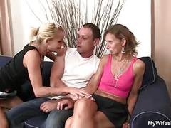 Daughter watches husband fucking not her old mom