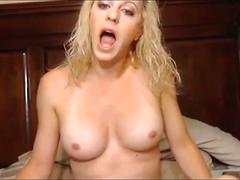 Blonde shemale pleasing herself - homemade.