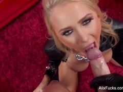 Blonde babe alix lynx sucks off the cameraman