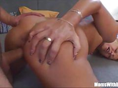 Sexy mama gets cum sprinkled breasts