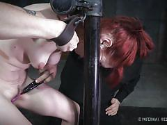 bdsm, babe, torture, redhead, nipple clamps, device bondage, restraints, pussy clips, infernal restraints, violet monroe