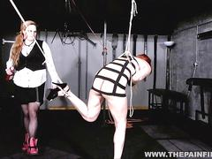 Suspended lesbian whipping and strict lezdom bondage of spanked slave girl dirty mary