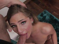 Cum guzzling sydney cole gags on hard long cock