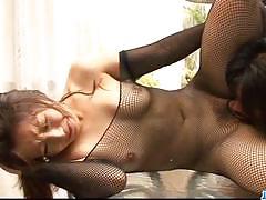Japanese brunette gets her pussy fingered
