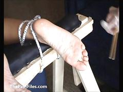 Extreme foot fetish and feet needle bdsm of mature amateur slave girl