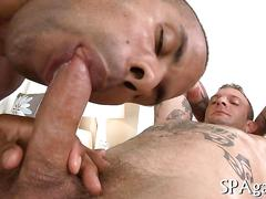Black stud sucks off tattooed white guy and fucks during massage