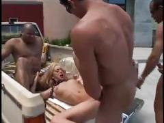 Brutal double gang bang - triple penetration