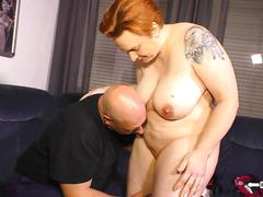 Hausfrau ficken - mature german bbw housewife gets cum in mouth in hot sex session