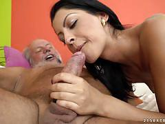 vivien bell, brunette, blowjob, riding, doggystyle, cumshot, cowgirl, shaved pussy, mature, granny, sucking, grandad