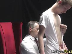 Uniform bishop blows cock