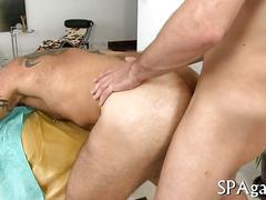 Hairy masseur gets flipped on his back for anal sex