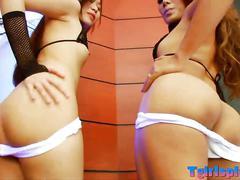 Two sexy teen ladyboys fucked on turns by hard dick