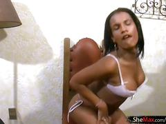 Beautiful ebony shedoll strips off and pulls out monstercock