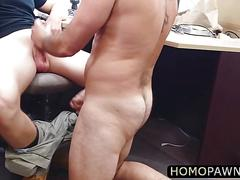 Small cock dude gets virgin ass pounded by two horny cock in the shop