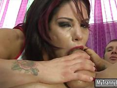 Busty tranny laela knight asshole rammed on the couch