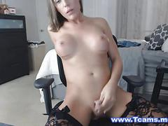 Busty blonde shemale rides dildo on cam