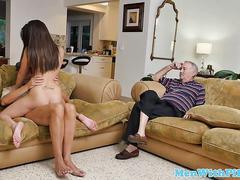 Teen amateur spitting out senior citizens cum