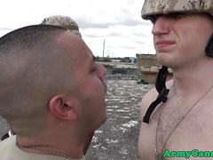 Interracial soldiers assfucking outdoors
