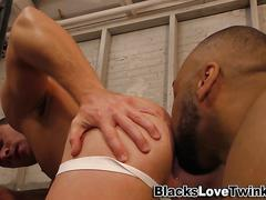 White stud eats black ass