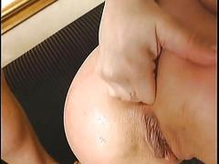 German slut gets her ass toyed and face fucked