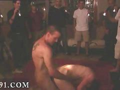 Bareback twink getting fucked during a hazing under disco lights
