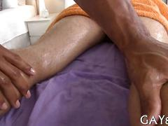 Massaging the dude and the hunk loves his sessions