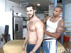 Muscly hunk has a fat dick to suck on hard