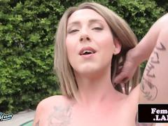 Outdoor trap masturbating by the pool
