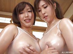 massage, lesbians, big tits, babe, japanese, kissing, oiled, pussy licking, lesbian 69, nipple pinching, big tits tokyo, all japanese pass, mizuno asahi