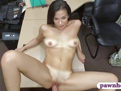 Brunette babe pawns her twat and fucked at the pawnshop