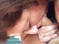 Cock-crazed granny devouring his cock
