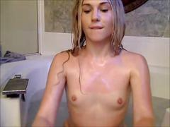 Ts enjoys bath time with her sex toys