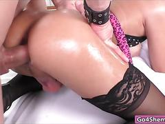 Hot blonde tranny gets her dick sucked before anal fucking ensues