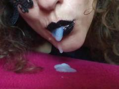 Black lips cum in my mouth latex gloves spit slowmo