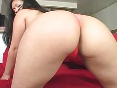 Sensual brunette flashing wet pussy and ass