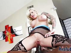 Gorgeous blondie sucks a huge black cock