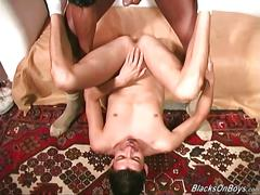 Young white amateur guy gets fucked by blacks