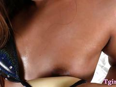 Small tits tranny masturbates her anus and jerking off